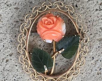 Old Vintage Gold-Tone Carved Green Jade And Peach Coral Rose Flower Circle Brooch Krementz 1880