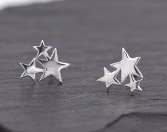 Shine Bright Star Trio Stud Earrings in Sterling Silver  z19