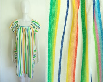 60s striped nightgown size medium, lightweight knit colorful stripes dressing gown, 1960s lounge lingerie night gown