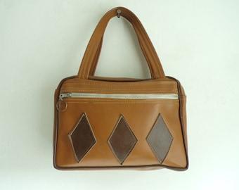 60s vinyl bag, faux leather bag, mod 1960s bowler bag, mad men purse, brown handbag, top handle bag, diamond argyle