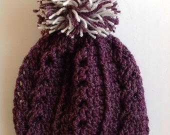 Handmade crochet cable hat Pom Pom  baby children adult