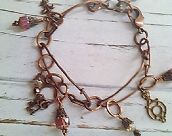Oxidized Brass Kilt Pin Charm Bracelet- Nora's Folly