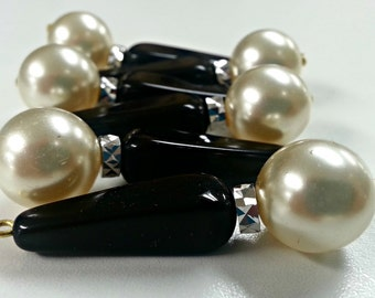 Vintage Czech Glass Pearl and Black Acrylic Drops Set of 6