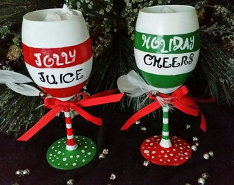 Christmas Wine Glasses  Jolly Juice Holiday Cheers customization Candy Cane Stripes Christmas Gift, parties, wine tastings