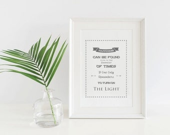 Digital Print / Downloadable Harry Potter Quote Print Happiness Can Be Found Even In The Darkest Of Times / Printable Art Instant Download