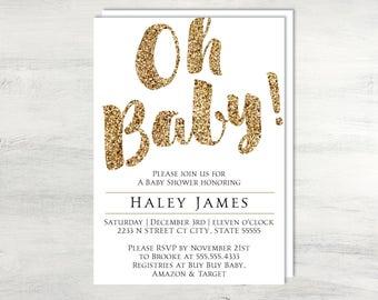 Oh Baby Baby Shower Invitation Printable Invite. Gold and black baby shower invitation baby shower invite DIY PDF Printable digital file