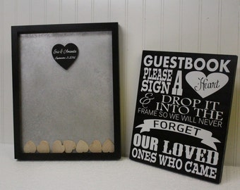 Personalized Wedding Guestbook Shadow Box Frame Custom Heart Guest Book Frame Idea Drop In Top Frame Guest Book Sign Wedding Alternate Frame