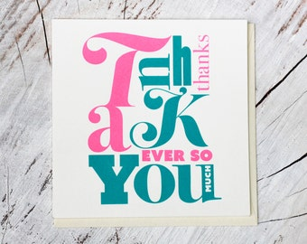 Thank You card • Silkscreen • Thank You ever so much • Handmade • Screenprinted card