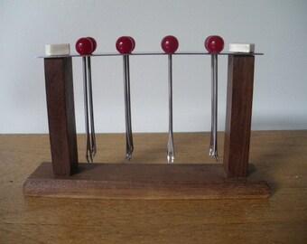 French Art Deco 1930, FrenchVintage wood Escargot Cocktail Pick Set/ Hors d'oeuvre Picks/ Appetizer Pick