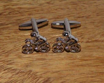Cycling Silver Cufflinks, Cyclist Cufflinks,  Silver Bike Cufflinks, Bicycle Cufflinks, Mens Silver cufflinks, Mens cycling cufflinks