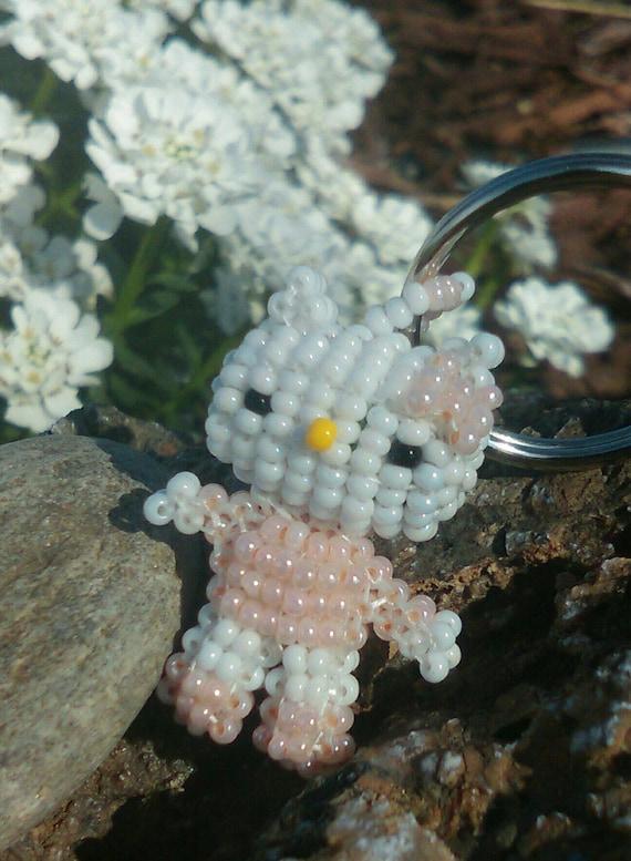 3D - Pink Kitty Handmade Beaded Keyring.