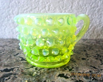 Hobnail yellow glass pitcher small vintage
