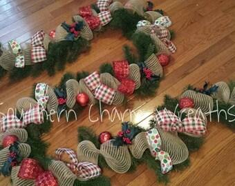 12ft Greenery & Burlap Mesh Mantle Christmas Garland