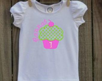 girls personalized cupcake birthday shirt vinyl custom