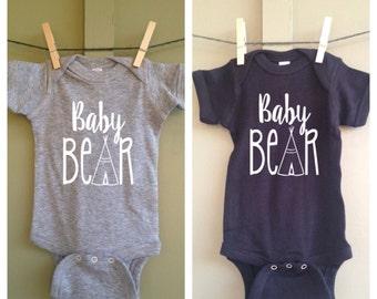Baby Bear Infant Onesie, Hipster, Black, White, Gray, Short Sleeve, Gift, Teepee