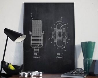 Vintage Microphone Patent, Wall Art Print, Microphone Patent Art, Microphone Patent Poster - DA0105