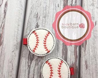 Baseball Hair Clip, Hair Clips, Hair Clip, Sports Clip, Felt Barrette, Barrette, Felt Clip