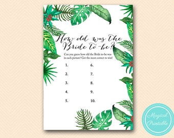 How Old was the Bride, Guess the age of Bride, Photo Game, Luau, Tropical Bridal Shower Game Printable, Game Download, Printable BS428