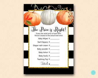 Modern Pumpkin Price is right, baby shower price tag game, Pumpkin Baby Shower Game Printable, Fall, Autumn Baby Shower Game TLC463