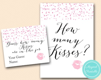 How many Kisses Sign, Guess how many Kisses there are in a jar, Pink Confetti Bridal Shower, Bachelorette, Wedding Shower BS147