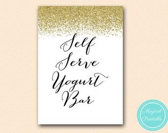 Self serve yogurt bar sign, instant download, Yogurt Bar sign, wedding sign, Gold Glitter Bridal Shower Sign, baby Shower Sign BS88 SN21