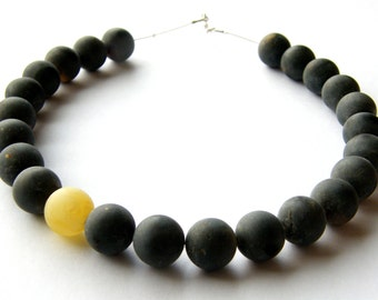 Amber Necklace, beads,matt, black-yellow-white, mosaic, gift for she,giftbox, modern, Handmade, Silver 925, NEW, Unique
