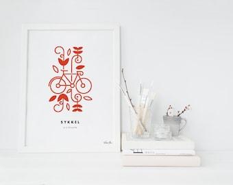 "8x10 ""Sykkel"" (Bicycle) Nordic Word Print, red and white, Norwegian Scandinavian folk art illustration"