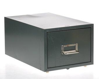 iNDuSTRiaL MeTaL DRaWeR - vintage file cabinet - index library drawer - mid-century
