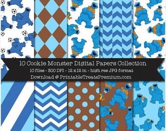 50% OFF SALE Cookie Monster Digital Paper Pack