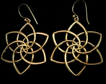 Brass Geometrical Lotus earrings