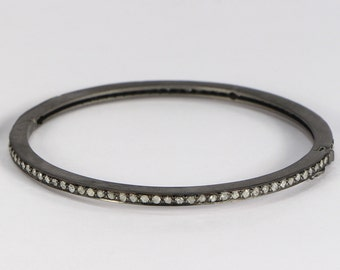 Antique style Simple Round Oxidized Women 2.5 inches  Openable Bangle .925 Sterling Silver with 1-line Pave Diamonds