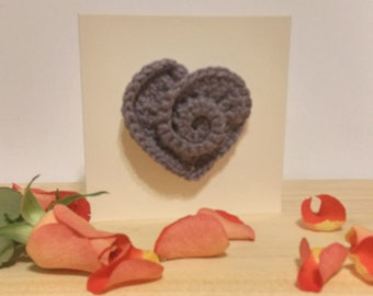 Anniversary Card with removable Crochet Heart Brooch ~ Valentines gift for her ~ Crocheted Greetings Card ~ Blank Greetings Card