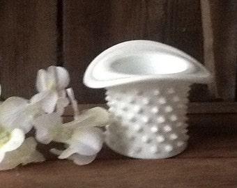 Milk glass, hobnail, hat, vase