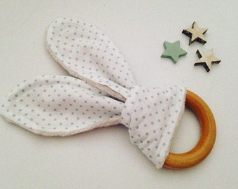 Wood teething ring for babies 0-2 years old, natural wood and organic cotton, newborn gift for baby shower