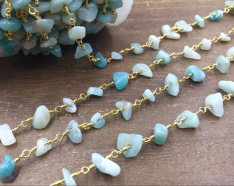 Amazonite Rosary Chain Wholesale Gemstone Chips Chain Wire Wrapped Jewelry Handmade Silver&Gold Rosary Style Gemstone Chain Custom Length