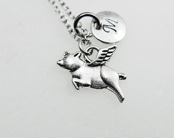 Winged Pig Pendant Charm Necklace, Pig Charm On Silver Chain, Flying Pig Necklace, Flying Pig Jewelry, Flying Pig Charm, Flying Pig Pendant