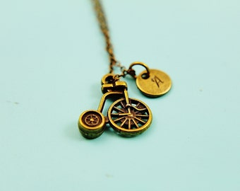 Bronze Tricycle Pendant Charm Necklace Tricycle Charm with Personalized Initial Necklace, Monogram Charm, Personalized Jewelry