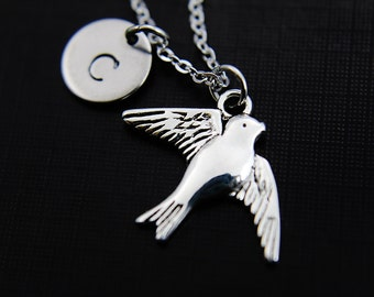 Initial Necklace | Swallow Necklace | SIlver Bird Charm  | Blu Bird Necklace | Mother Gift |  Boho Jewelry