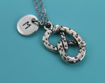 Pretzel Necklace Silver Pretzel Pendant  Charm Necklace with Personalized Initial Necklace Monogram Custom Jewelry Food Jewelry