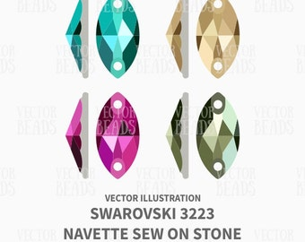 Swarovski 3223 Navette Sew on Stone Vector Illustration - ai, eps, pdf, png