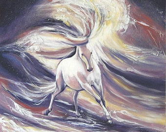 "Marine painting, ""the horse as furious and powerful  as the waves"", oil on canvas  70x70cm"