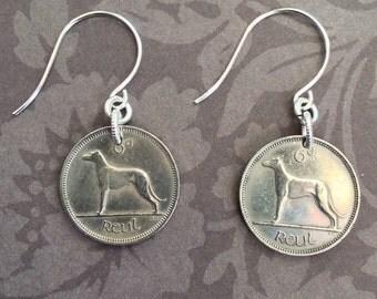 Ireland Irish Wolfhound Dog Coin Earrings