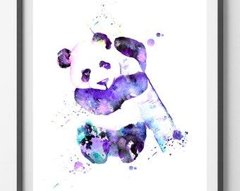 Printable Panda watercolor print, Panda Bear digital Print, Panda Instant Download hi-res digital art Panda illustration