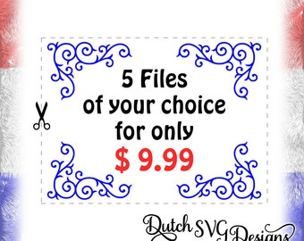 SPECIAL OFFER - 5 Cutting files of your choice, for Cricut & Silhouette