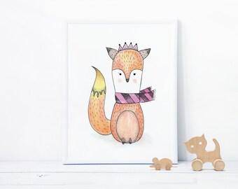 Baby Fox Illustration Art Print