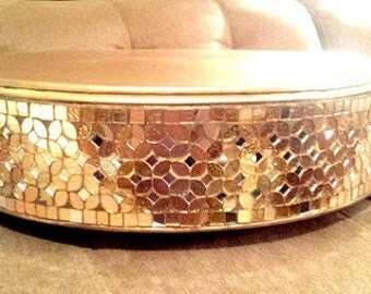 "18"" Round gold mosaic cake stand/Beautiful metal and glass mosaic cake stand"