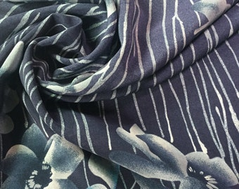Deep Blue Floral Silk Remnants, Blue Floral Silk,  Silk by the Yard, Reclaimed Silk, LOT 3017