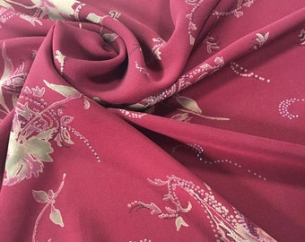 Maroon Silk Remnants, Red Floral Silk,  Silk by the Yard, Reclaimed Silk, LOT 3015