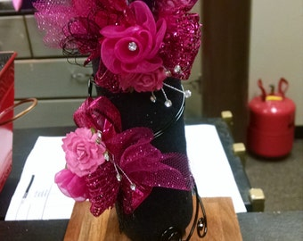 beautiful handcrafted arm  corsage for prom or weddings with matching bout