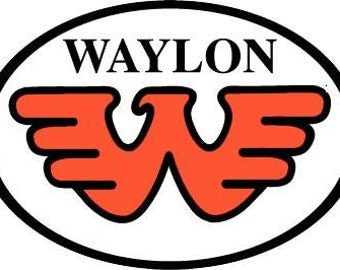 Waylon Jennings Oval Flying Orange W Decal Vinyl Sticker 4 Pieces